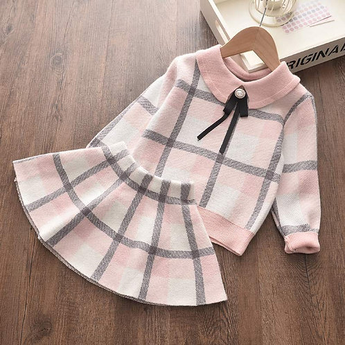 Plaid - Baby Girls Clothes Knitted Outfit Sweet Clothing Set Gift ideas