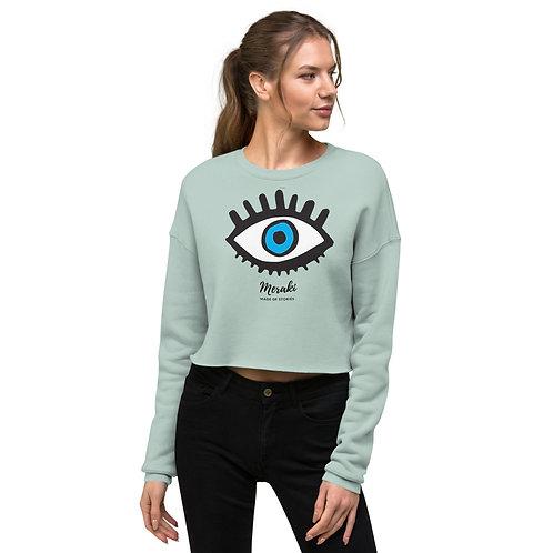 Cropped Meraki Sweatshirt for women Blue Eye in Heather Mint Pink