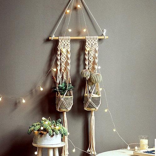 Bali - Handmade Macrame Plant Hanger - Cotton Rope Hanging Basket