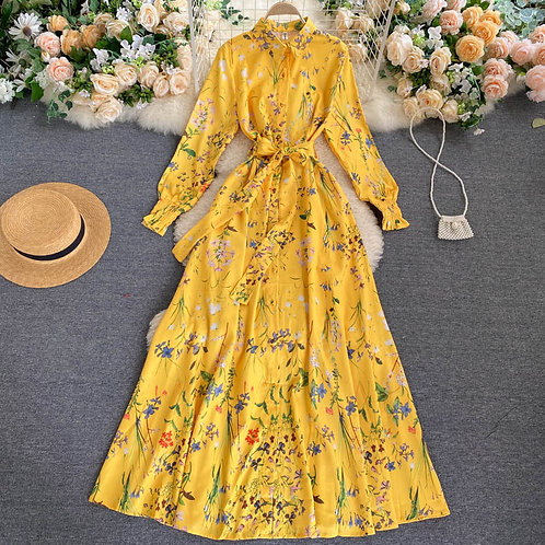 Dom - Yellow Floral Dress in Maxi Length and in A-Line Style
