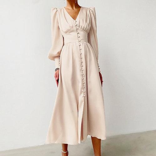 Olivia - Satin Midi Dress with Lantern Sleeves