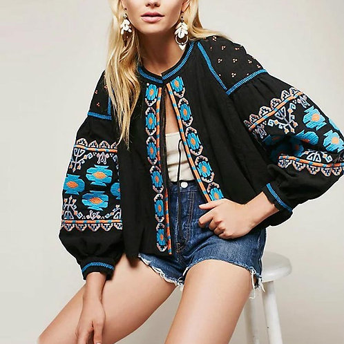 Medina - Boho Embroidered Cardigan with Tassels