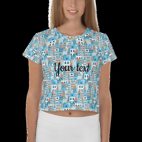 Creta Cropped T-shirt - Personalised Greek island design tee for women