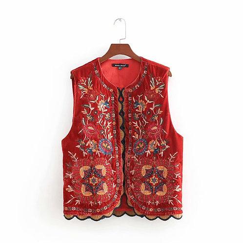 Velvet Embroidered Waistcoat - Vest