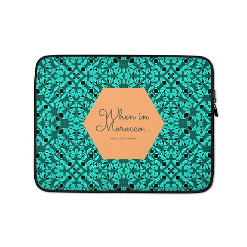 Agadir - boho style laptop case, colourful snug fit laptop cover faux fur lining