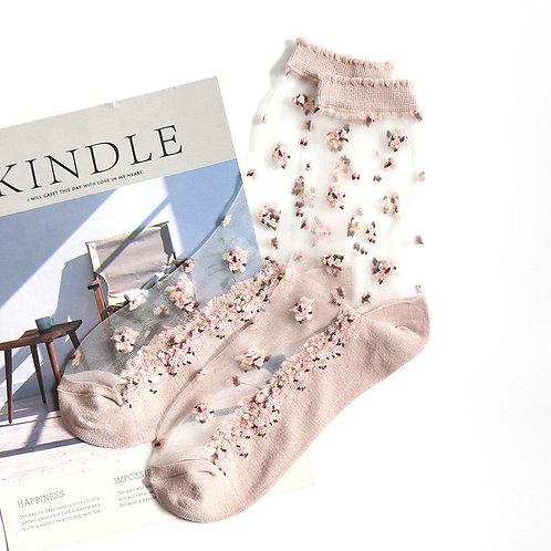 Beautiful Socks for Women Transparent Flower Patterned Socks