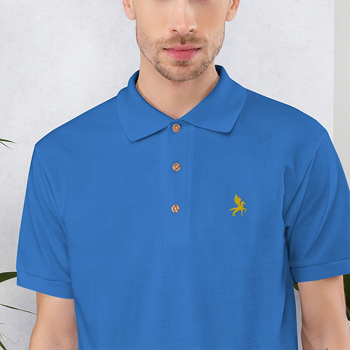 Pegasus - Embroidered Blue, Red Cotton Polo Shirt - Classic Polo for Men