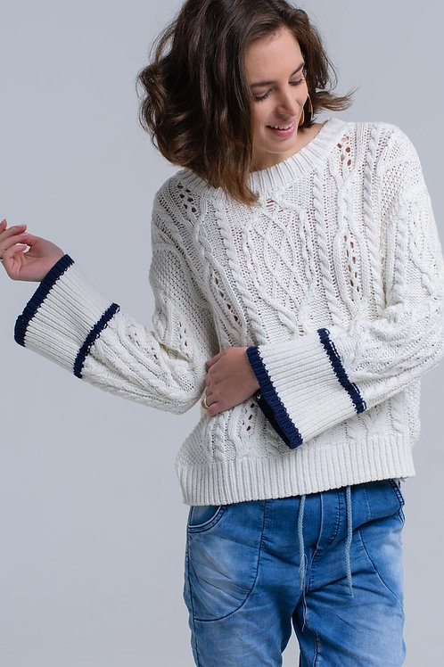 Cream Cable Sweater With Stripe Detail
