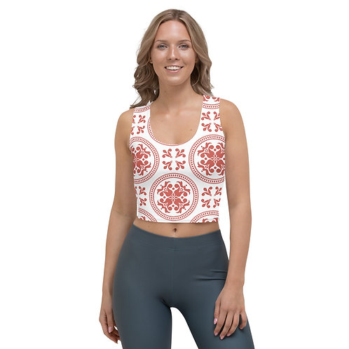 Aphrodite - Red and White Lace Design Sports Crop Top