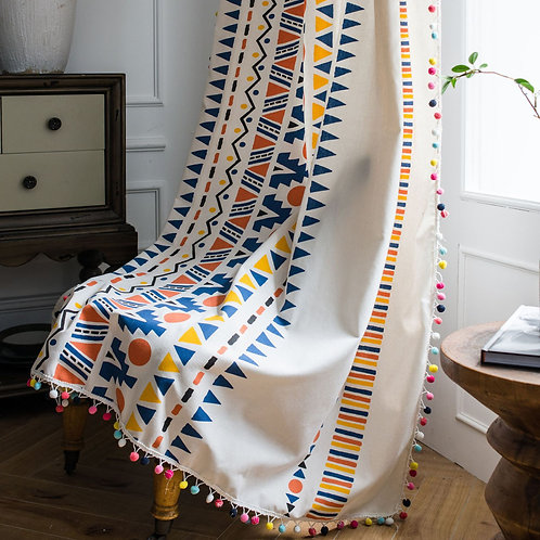 Boho Curtains - Colourful Linen Curtains with Tassels