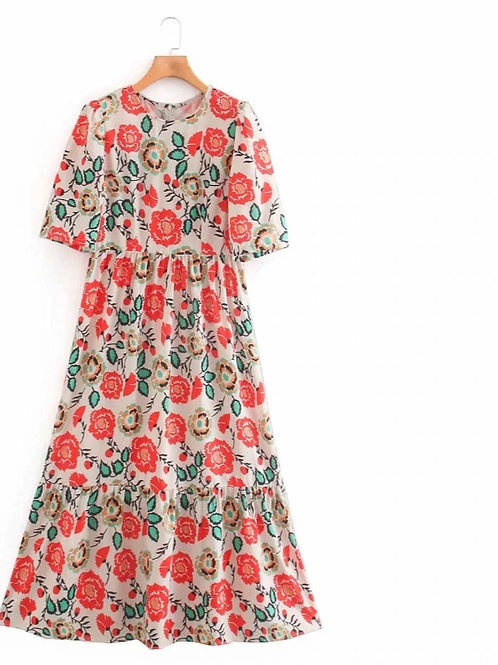 Red Flower - Loose Floral Dress in Midi Length