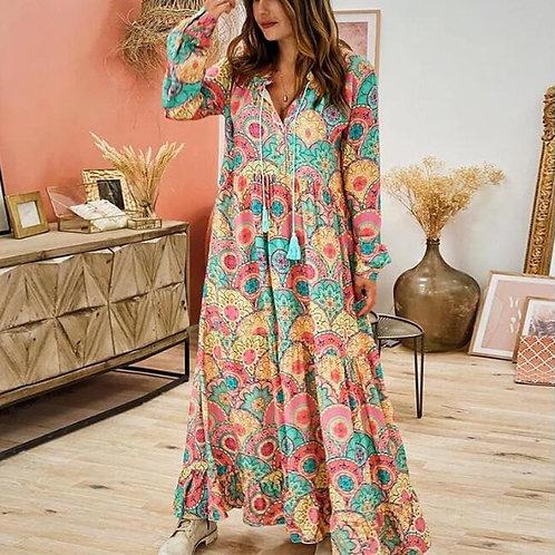 Nour - Bohemian Loose Maxi Dress with tassels - Staycation Wear