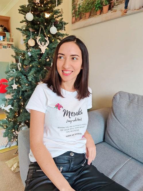 Meraki t-shirt - Bougainvillea cotton tee for women - gift ideas for her