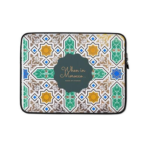 Essaouira - boho laptop case, colourful snug fit laptop cover faux fur lining