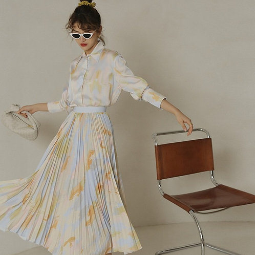 Gaivota - Pleated Midi Skirt and Shirt Set in Soft Colours