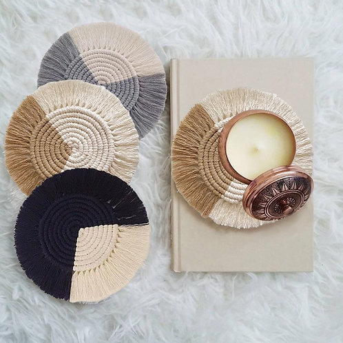 Handwoven Macrame Coasters Cup Pads Heat Resistant Pads