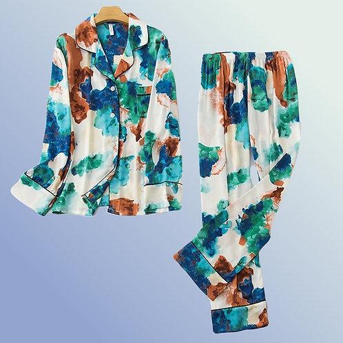 Brazil - Silk Pyjama Set for Ladies - Colourful PJ Set Homewear Sleepwear