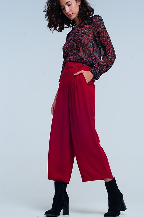 Womens Red Wide Leg Culottes With Belt Detail
