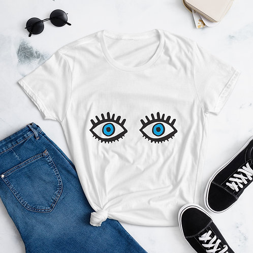 Blue Eye cotton t-shirt for Women in White, Blue, Grey, Red - gift for her