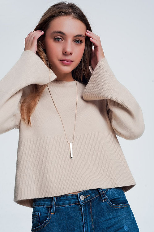 Beige Sweater With Long Sleeves