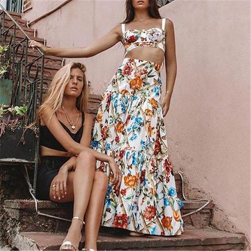 Parada - Floral Top and Maxi High-Waist Skirt Set