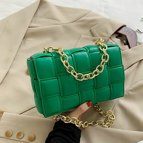 Athina Womens Green Handbag with Gold Chain