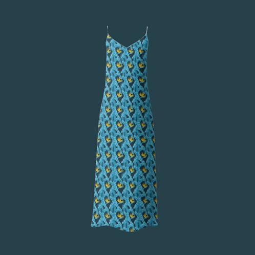 Beija Flor - Colourful Luxury Satin Dress