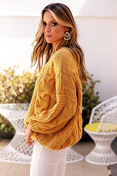 Yellow Bohemian Sweater - Female Knitted Jumper