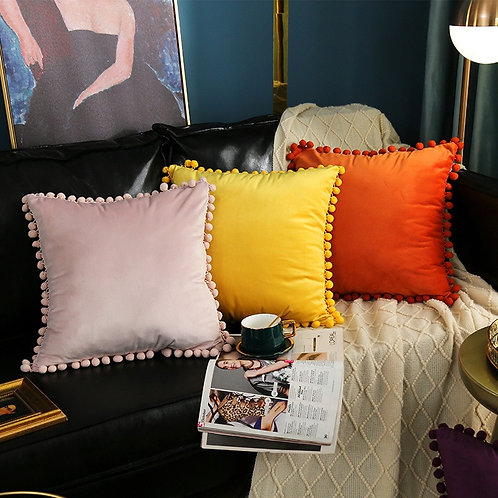 Moroccan Velvet Cushion covers with pom poms