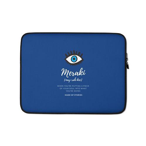 Meraki Laptop Case - Blue Eye Laptop Sleeve - Snug Fit Case with Greek word