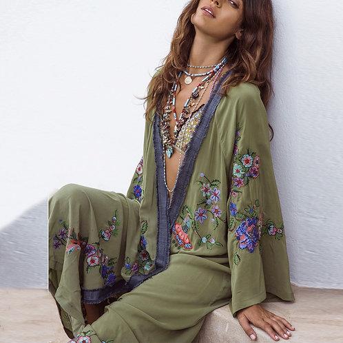Asilah - Boho Cardigan, Embroidered Kimono - Staycation Wear