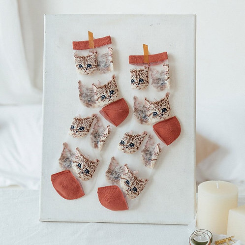 Elegant Silk Socks for Women with Cats
