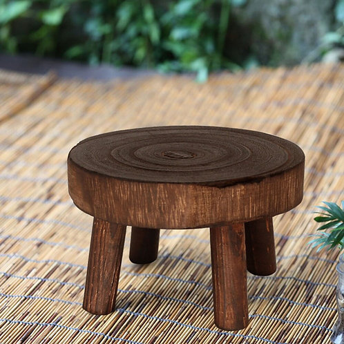 Vintage Wood Grain Plant Pot Stand Display Holder Stand