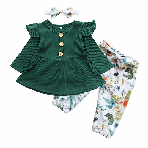 Forest Flowers - Newborn Baby Girl Clothes Set Cotton 3Pcs Infant Clothing Suit
