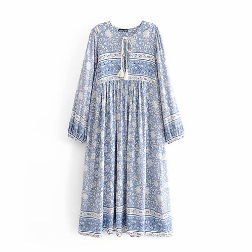 Tinos - Loose Maxi Dress with Tassels