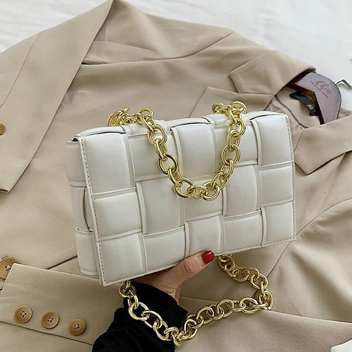 Athina Womens White Handbag with Gold Chain