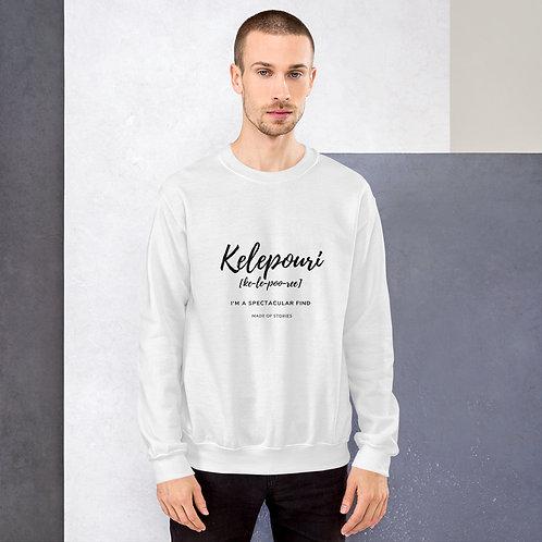 White Kelepouri Sweatshirt - Greek word Kelepouri, anniversary gift