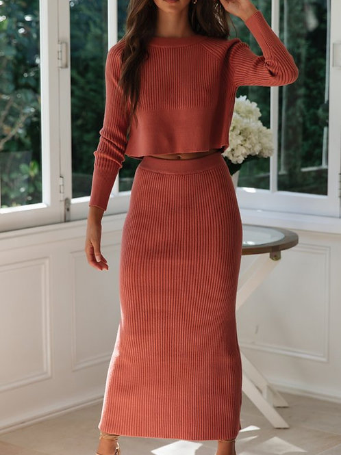 Knitted Loungewear Set - Skirt and Sweater set