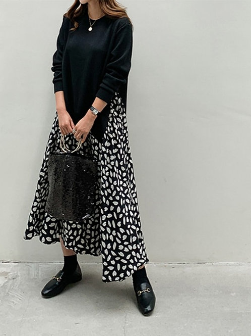 Brazil - Dotted Midi Dress in Sweater and Skirt Style