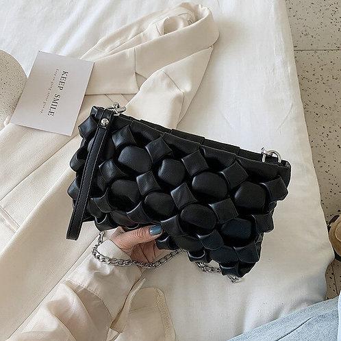 Daphne Woven Leather handbag - Women's bag in Black