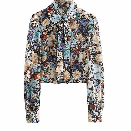 Castanha - Floral Shirt with a Bow