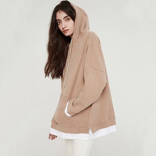 Oversized Velvet Hoodie - Warm Velvet Oversized Sweatshirt