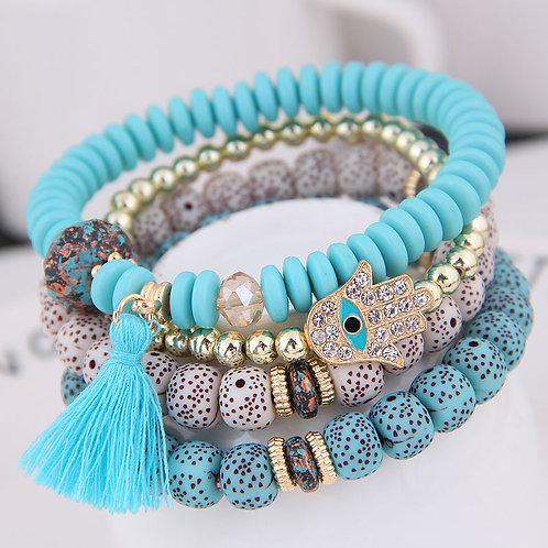 Nahla - Boho Bracelets with Charms - 4pcs Set