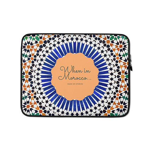 Chefchaouen - boho style laptop case, colourful snug fit faux fur lining