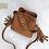 Thumbnail: Gingerbread Small Bucket bag with Tassels - Boho Style Bag