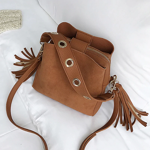 Gingerbread Small Bucket bag with Tassels - Boho Style Bag