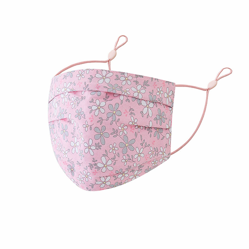 Soft Pink Floral Cotton Face Mask - Adjustable Face Covering