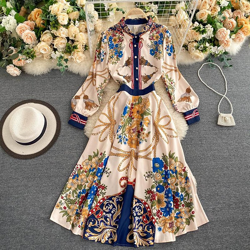 Barroca - A-Line Pleated Floral Dress with Long Sleeves