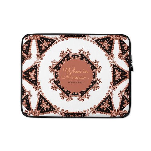 Fez - boho style laptop case, colourful snug fit laptop cover faux fur lining