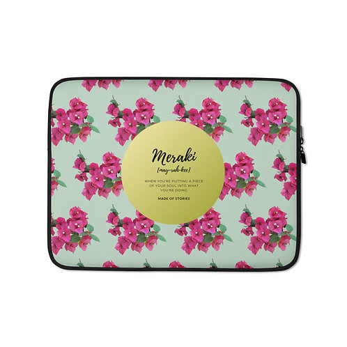 Ariadni Meraki Laptop Case - Colourful Snug fit laptop sleeve with Greek word